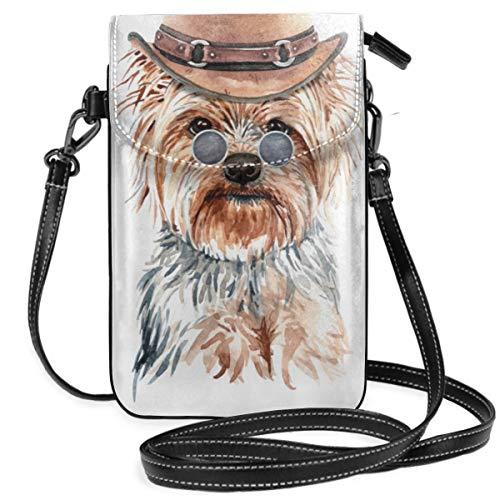 Suminla-Home Handtasche/Geldbörse mit Yorkshire Terrier, Wasserfarben mit Kostüm, kleine Handy, Umhängetasche, Smartphone-Geldbörse