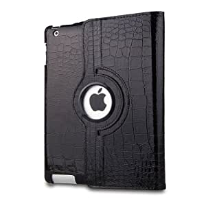 360 Degrees Rotating Stand Leather Smart Cover Case for Apple iPad Mini, Black Crocodile Color