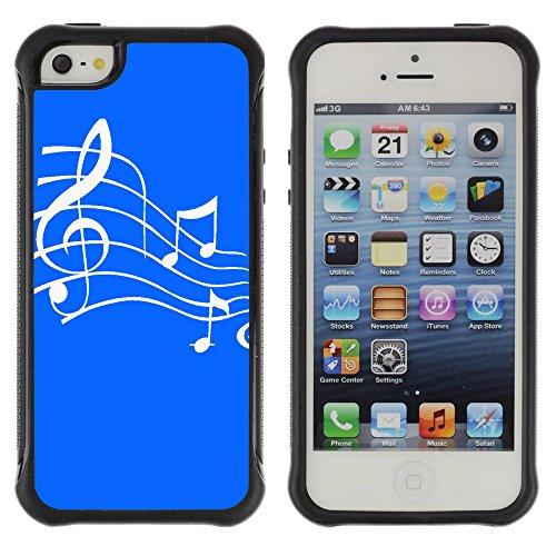 Graphic4You Musik Noten Muster Design Shockproof Anti-Rutsch Weichen Hülle Case Tasche Schutzhülle für Apple iPhone SE / 5 / 5S (Rot) Bleu Royal