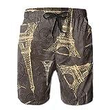 WTZYXS Vintage Eiffel Tower Paris Passport Stamps Men Casual Drawstring Beach Boardshorts Pants Pocket L