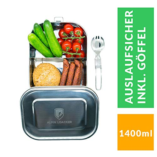 Alpin Loacker Edelstahl Lunchbox auslaufsicher und dicht 2.0. Die dichte Brotdose, Brotbox, Vesperbox, Vesperdose 1400ml