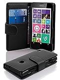 Cadorabo Hülle für Nokia Lumia 630/635 - Hülle in OXID SCHWARZ – Handyhülle mit Kartenfach aus struktriertem Kunstleder - Case Cover Schutzhülle Etui Tasche Book Klapp Style