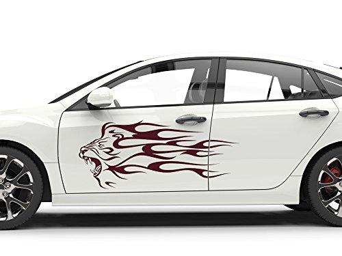 GRAZDesign 740224_2x57SP_010G Auto-Aufkleber Seitenaufkleber Tuning Sticker Löwe Cartattoo Tribal (2St. je 132x57cm//010 Weiss)