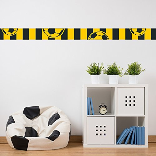 malango - Fußball-Bordüre schwarz gelb