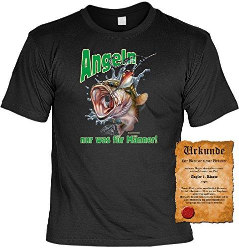 Angler T-Shirt Angeln - nur was für Männer Shirt 4 Heroes Geburtstag Geschenk geil bedruckt mit Angler-Urkunde Schwarz