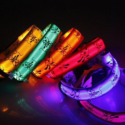 Eizur Regulierbar LED Hundehalsband Sicherheits Leuchthalsband Blinkendes Licht Haustier Halsbänder 3 Leucht-Modi Größe S–Rosa - 5