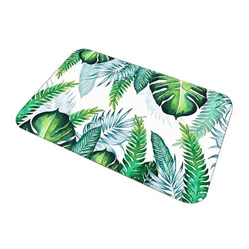 Tropische Farne Pflanzenblätter Musterdruck Badematte Home Bad Anti-Rutsch-Badematte Polyester Kurzflusen Bad Küchenteppich 40X60CM (16X24inches) weiß -