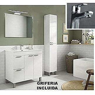 51nNpuF3DKL. SS324  - Hogar Decora Conjunto Mueble Baño con Espejo Liso, Acabado Blanco 80 x 46 x 80 cm, (Grifo Incluido)