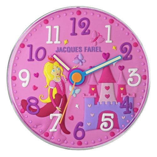 JACQUES FAREL WAL11 Wanduhr Prinzessin Uhr Mädchen Kinderuhr Kunststoff Analog rosa