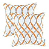 2er-Set Euphoria Dekokissen Covers, Modern Zwei-Ton-Wellen Geometric, 45cm X 45cm Grau Orange