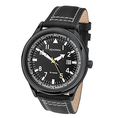 SEKONDA Men's Quartz Watch with Analogue Display andLeather Strap