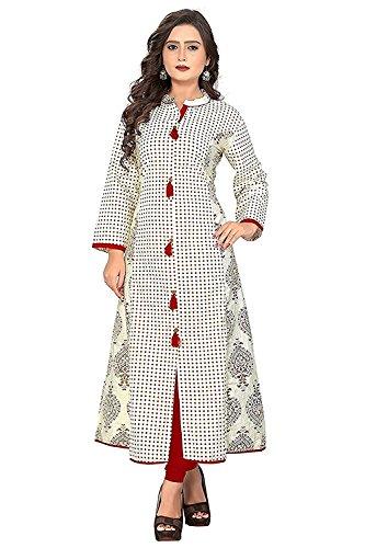 FabDiamond Women's Cotton A-Line Kurti(XL-Size)