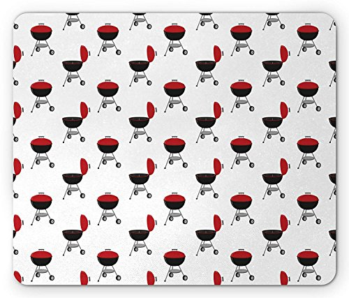 BBQ Party Mouse Pad, Picnic Themed Grill Station Cartoon Style Outdoor Cooking Elements, Standard Size Rectangle Non-Slip Rubber Mousepad, Vermilion Black Grey
