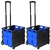 WOLTU EW4801bl 2er Einkaufswagen 64L Einkaufstrolley Einkaufsroller Shopping Trolley klappbar bis 35kg 100x42x40,5cm Schwarz-Blau