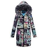 Sunnyuk Steppjacke für Damen Softshell bunt Blazer mit riesen-Kapuze weit große-größen warm-gefüttert Parka für mädchen Fashion Klassische Winter