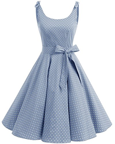 bbonlinedress 1950er Vintage Polka Dots Pinup Retro Rockabilly Kleid Cocktailkleider Blue White Dot XS Dot Kleid