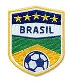 2er-Pack, Brasilien Fussball / Stick Abzeichen 70 x 55 mm / Stickerei, Aufbügler, Applikation, Patch, Bügelbild für Kleidung, Cap, Taschen / Fußball National Team Dress Trikot Meister Flagge Fan
