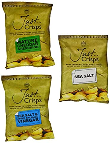 Just Crisps Sea Salt/Mature Cheddar and Red Onion/Apple Balsamic Vinegar and Sea Salt Variety box 40g (Pack of