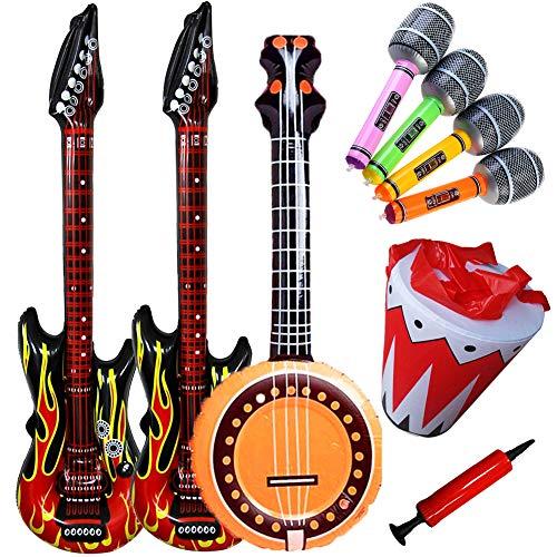 SWZY Aufblasbare Rock Star Toy Set - Aufblasbare Party Props - Aufblasbare Flame Guitar, Aufblasbare Flammengitarren, Mikrofone, runde Gitarre, Aufblasbare Trommel und Luftpumpe für Party-Luftballons