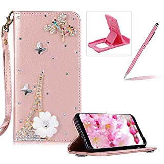 Herzzer Diamond Leather Case for Samsung Galaxy S8,Rose Gold Strap Wallet Cover for Samsung Galaxy S8, Luxury Tower Dragonfly 3D Decor Design Stand Glitter Magnetic Smart Leather Case with Soft Inner