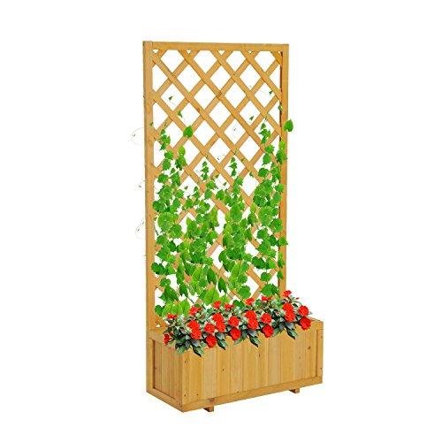 Outsunny fioriera rettangolare in legno di pino con grigliato per piante rampicanti, base rialzata