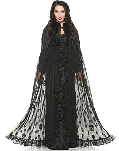 Underwraps Black Velvet Mesh Gothic Vampire Witch Skull Cape One (Cape Velvet Black)