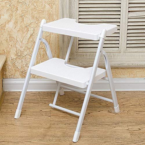 CHOME Home Haushalt Klappleiter Hocker Geeignet für Küche für Erwachsene und Kinder Tragbarer Klappfußhocker/Stuhl Kleine Trittleiter,White,3tiers