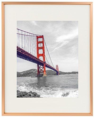 frametory, Metall Bilderrahmen Collection, 11x 14Aluminium silber Bilderrahmen mit elfenbeinfarbenem Farbe Matte für 8x 10Bild und echtes Glas (Rose Gold)
