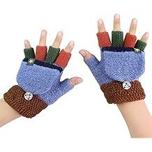 2d92a6658a784c Kinder Halbfinger Handschuhe Fingerlose Fäustlinge Warm Mehrfarbige  Strickhandschuhe Fingerhandschuhe mit Flip Top Mädchen Jungen Herbst Winter