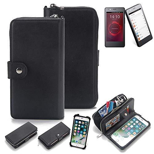 K-S-Trade 2in1 Handyhülle für BQ Readers Aquaris E4.5 Ubuntu Edition Schutzhülle & Portemonnee Schutzhülle Tasche Handytasche Case Etui Geldbörse Wallet Bookstyle Hülle schwarz (1x)