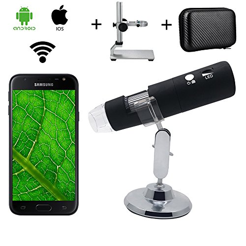 WiFi Digital Wireless Microscope, Bysameyee 1000X Magnification Microscope with Metal Stand Carrying Case/Bag for iPhone IOS iPad Android Phones Tablet