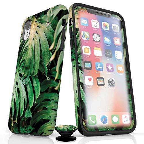 Handy-Zubehör-Set für iPhone 6/6S - Displayschutzfolie, glänzende iPhone-Hülle und Handy-Griff mit Leaf Me Alone Design, iPhone XR, Leaf me Alone (Glossy Finish) Leaf Griffe