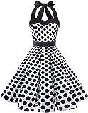 Dresstells Neckholder Rockabilly 1950er Polka Dots Punkte Vintage Retro Cocktailkleid Petticoat Faltenrock White Black Dot XL