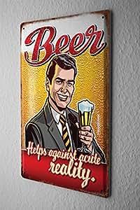 Pit Hammann Plaque Émaillée Beer Bar Pub Alcool réalité agréable Décoration Murale Metal Plate 20X30 cm