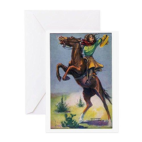 CafePress Grußkarte Cowgirl On Bucking Horse Grußkarte, Notizkarte, Geburtstagskarte, innen blanko, glänzend