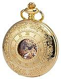 KS Reloj de Bolsillo Hombres con Cadena Vintage Steampunk Esqueleto Mecánico con Caja de Regalo Dorado KSP045