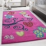 Carpettex Teppich Kinderteppich Kinderzimmer Eulen Schmetterling Herz Muster Pink Gruen Blau Rot - 120x170 cm