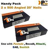 Maniküre-Set für Dewalt, Paslode, Hitachi, 16 g, 20 ° abgewinkelt, 2 x 500 Stück