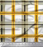 Soimoi Orange Baumwolljersey Stoff Plaid prufen Drucken