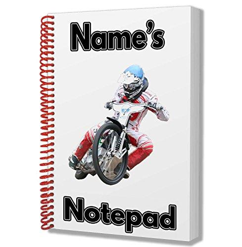 Notizbuch mit Speedway Motorrad/Fahrer Motiv Personalisierbares Geschenk - A5-Notizblock/Notizbuch - Zeichnungen, Kritzeleien, Tagebuch, Notizen