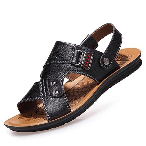 Sommer bequem Schuhe waten Herren langlebig Ledersandalen Black zu und rutschfest tragen 1WBnRqW