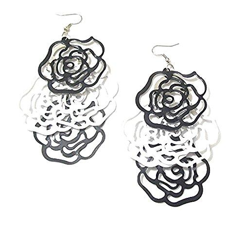 Damen Schwarz Weiß Rose Blume Silber Ohrringe Creolen Ohrringe Geschenk Party Kostüm Schmuck (Teenage Kostüm Schmuck)