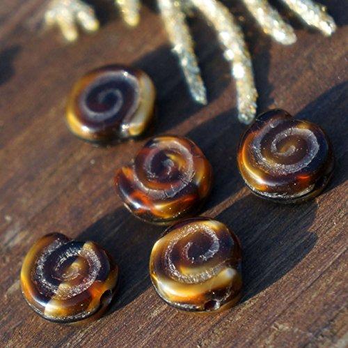 Picasso Brown Nautilus ceca Perle di Vetro Ammonita Perle di Ammonite Fossile Cordone di Conchiglia di Perle Perle a Spirale Nautilus, Guscio di Mare 8mm x 3mm 14pc