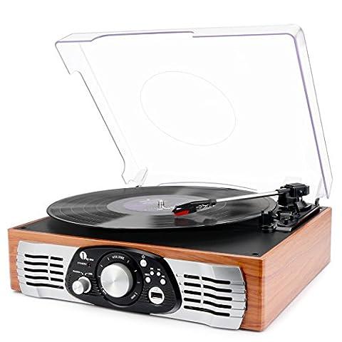 1byone riemengetriebener Schallplattenspieler mit eingebauten Lautsprechern, Plattenspieler Vinyl-To-MP3 Aufnahme und