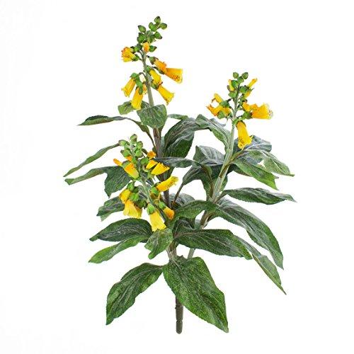 artplants - Kunstblume Fingerhut mit 30 Blättern, 3 Blütenrispen, gelb, 60 cm - Deko Pflanze mit Blüten/Blumen künstlich