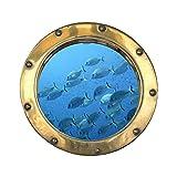 Sticker, Trompe Auge Bullauge Gartenbank Fische, L 70cm x H 70cm
