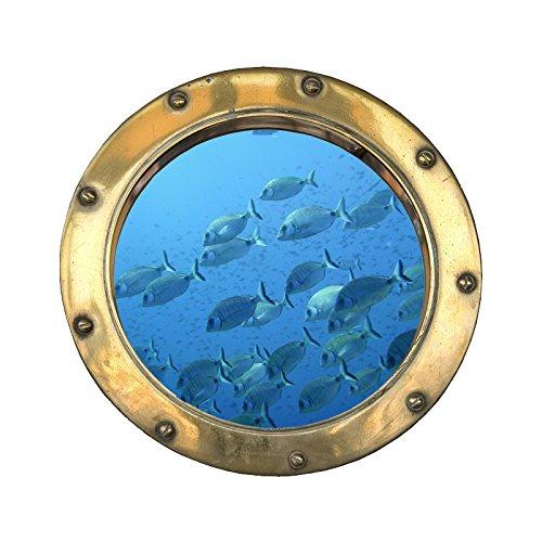 Sticker, Trompe Auge Bullauge Gartenbank Fische, L 110cm x H 110cm