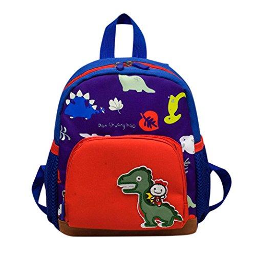 Schultaschen Kinder Btruely Dinosaurier-Muster Rucksack Jungen Mädchen Kindertasche Karikatur Mini Tasche (Ein Größe, Dunkelblau)