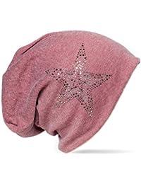 Kandharis Beanie Mütze für Damen Herren mit Strass Nieten Stern Slouch Longbeanie Unisex MT-20