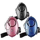 Emergency Persoonlijk Alarm [3 Pack] Qoosea Scream Safesound Alarm 140dB LED Zaklamp voor Kinderen/Vrouwen/Ouderen/Student Ze